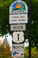 Sign for beginning of U. S. 1 (Overseas Highway), Key West, Florida Keys, Florida USA