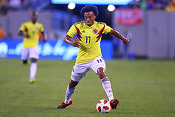 September 11, 2018 - East Rutherford, NJ, U.S. - EAST RUTHERFORD, NJ - SEPTEMBER 11:  Colombia forward Juan Cuadrado (11) during the first half of the International Friendly Soccer game between Argentina and Colombia on September 11, 2018 at MetLife Stadium in East Rutherford, NJ.   (Photo by Rich Graessle/Icon Sportswire) (Credit Image: © Rich Graessle/Icon SMI via ZUMA Press)