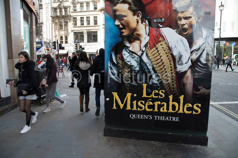 Signs advertising Les Misrables West End Theatre show in London, England, United Kingdom.