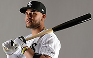 GLENDALE, ARIZONA - FEBRUARY 21:  Yoan Moncada #10 of the Chicago White Sox poses for a portrait during photo day on February 21, 2018 at Camelback Ranch in Glendale Arizona.  (Photo by Ron Vesely)  Subject:   Yoan Moncada