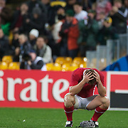 Heartbreak for Jonathan Davies, Wales, as the final whistle sounds giving South Africa a 17-16 victory during the Wales V South Africa, Pool D match during the Rugby World Cup in Wellington, New Zealand,. 11th September 2011. Photo Tim Clayton