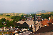 Winery building. View from winery over village and church. Domaine Henri Bourgeois, Chavignol, Sancerre, Loire, France