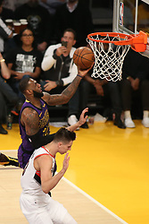 November 14, 2018 - Los Angeles, CA, U.S. - LOS ANGELES, CA - NOVEMBER 14: Los Angeles Lakers Forward LeBron James (23) getting fouled on a shot during the Portland Trail Blazers versus the Los Angles Lakers game on November 14, 2018, at Staples Center in Los Angeles, CA. (Photo by Icon Sportswire) (Credit Image: © Jevone Moore/Icon SMI via ZUMA Press)