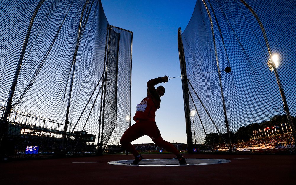 Humberto Mansilla of Chile competes during the men's hammer throw during the athletics at the Pan Am Games in Toronto, Wednesday July 22, 2015.    THE CANADIAN PRESS/Mark Blinch