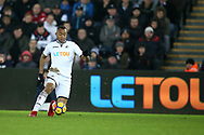 Jordan Ayew of Swansea city in action. Premier league match, Swansea city v Crystal Palace at the Liberty Stadium in Swansea, South Wales on Saturday 23rd December 2017.<br /> pic by  Andrew Orchard, Andrew Orchard sports photography.