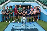 Football - 2019 / 2020 Gallagher Premiership Rugby - New Season Launch Media Photocall<br /> <br /> (From l to r), Leicester Tigers' Tom Youngs, Worcester Warriors' Francois Hougaard, London Irish' Blair Cowan, Bristol Rugby's Nathan Hughes, Northampton Saints' Tom Wood, Wasps' Dan Robson, Sale Sharks' Chris Ashton, Harlequins' Mike Brown, Gloucester Rugby's Danny Cipriani, Saracens' Alex Goode, Exeter Chiefs' Don Armand, Bath Rugby's Rhys Priestland,  at Twickenham.<br /> <br /> COLORSPORT/ASHLEY WESTERN