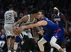 November 15, 2018 - Los Angeles, California, U.S - Danilo Gallinari #8 of the Los Angeles Clippers defends against DeMar DeRozan #10 of the San Antonio Spurs during their NBA game on Thursday November 15, 2018 at the Staples Center in Los Angeles, California. Clippers defeat Spurs, 116-111. (Credit Image: © Prensa Internacional via ZUMA Wire)