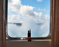 Heavy Seas. Waves breaking up to my cabin window. Image taken with a Leica X2 camera (ISO 100, 24 mm, f/5, 1/320 sec).