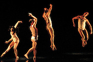 """Dancers in the Sacramento Ballet Company perform the energetic ballet.""""Fluctuating Hemlines"""" at the Sacramento Community Center theatre."""