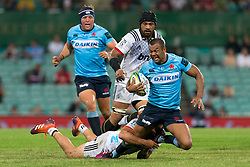 March 23, 2019 - Sydney, NSW, U.S. - SYDNEY, NSW - MARCH 23: Waratahs player Kurtley Beale (12) is tackled at round 6 of Super Rugby between NSW Waratahs and Crusaders on March 23, 2019 at The Sydney Cricket Ground, NSW. (Photo by Speed Media/Icon Sportswire) (Credit Image: © Speed Media/Icon SMI via ZUMA Press)