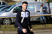 AFC Wimbledon defender Jon Meades (3) arriving during the EFL Sky Bet League 1 match between AFC Wimbledon and Bristol Rovers at the Cherry Red Records Stadium, Kingston, England on 17 February 2018. Picture by Matthew Redman.