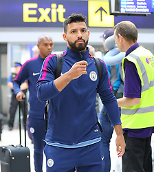 Sergio Aguero as the Manchester City team arrive at Manchester Airport as they jet for Iceland