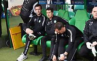 26/08/14 UEFA CHAMPIONS LEAGUE PLAY-OFF 2ND LEG<br /> CELTIC v NK MARIBOR<br /> <br /> Celtic manager Ronny Deila (left) takes his place in the dugout next to John Collins<br /> <br /> Norway only<br /> INNGÅR IKKE I FASTAVTALER , KUN STYKKPRIS