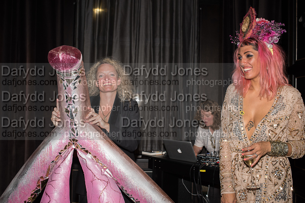 STEPHANIE THEOBALD WITH CLITORIS SCULPTURE, CAMILLA MASON, ,, Sex Driive, Stephanie Theobald book launch, . The Principal hotel. 1-8 Russell sq. London. 18 October 2018