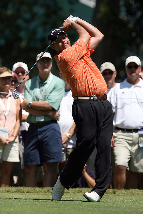 09 August 2007: Rich Beem tees off on the 4th hole during the first round of the 89th PGA Championship at Southern Hills Country Club in Tulsa, OK.
