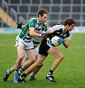 30-11-2014: Ardfert's Kevin Shanahan breaks away from Valley Rovers Darragh Crowley in the Munster GAA Club Intermediate Football final in Killarney on Saturday.<br /> Picture by Don MacMonagle XXJOB
