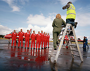 Group photograph by local media of the 'Red Arrows', Britain's Royal Air Force aerobatic team.
