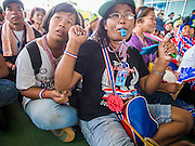 """08 APRIL 2014 - BANGKOK, THAILAND:  Anti-government protestors block the entrance to the Ministry of Justice in Bangkok. Several hundred anti-government protestors led by Suthep Thaugsuban went to the Ministry of Justice in Bangkok Tuesday. Suthep and the protestors met with representatives of the Ministry of Justice and expressed their belief that Thai politics need to be reformed and that corruption needed to be """"seriously tackled."""" The protestors returned to their main protest site in Lumpini Park in central Bangkok after the meeting.   PHOTO BY JACK KURTZ"""