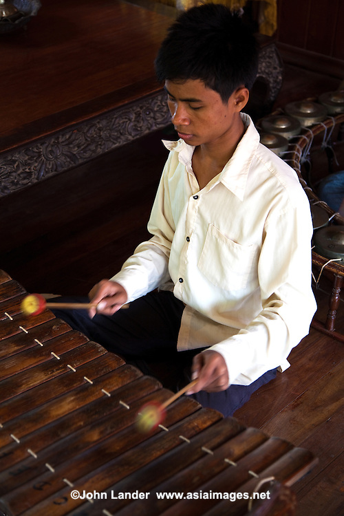 Cambodian folk music is highly influenced by ancient as well as Hindu forms.  Pinpeat orchestras are made up of bamboo xylophone, gongs and various kinds of drums.