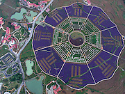 RENHUAI, CHINA - MAY 27: (CHINA OUT) <br /> <br /> Aerial view of a botanic garden which is designed as an eight diagrams at Pipa Village of Tanchang Town on May 27, 2016 in Renhuai, Guizhou Province of China. It\'s said that the garden covers more than 300 mu (about 200,000 square meters) with over 80 kinds of plants. <br /> ©Exclusivepix Media