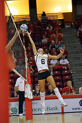 21 September 2007: Abby Harsh fingertips one over the net. The Wichita State Shockers bested the the Illinois State Redbirds on the floor of Doug Collins Court in Redbird Arena on the campus of Illinois State University in Normal Illinois taking the match in three games.