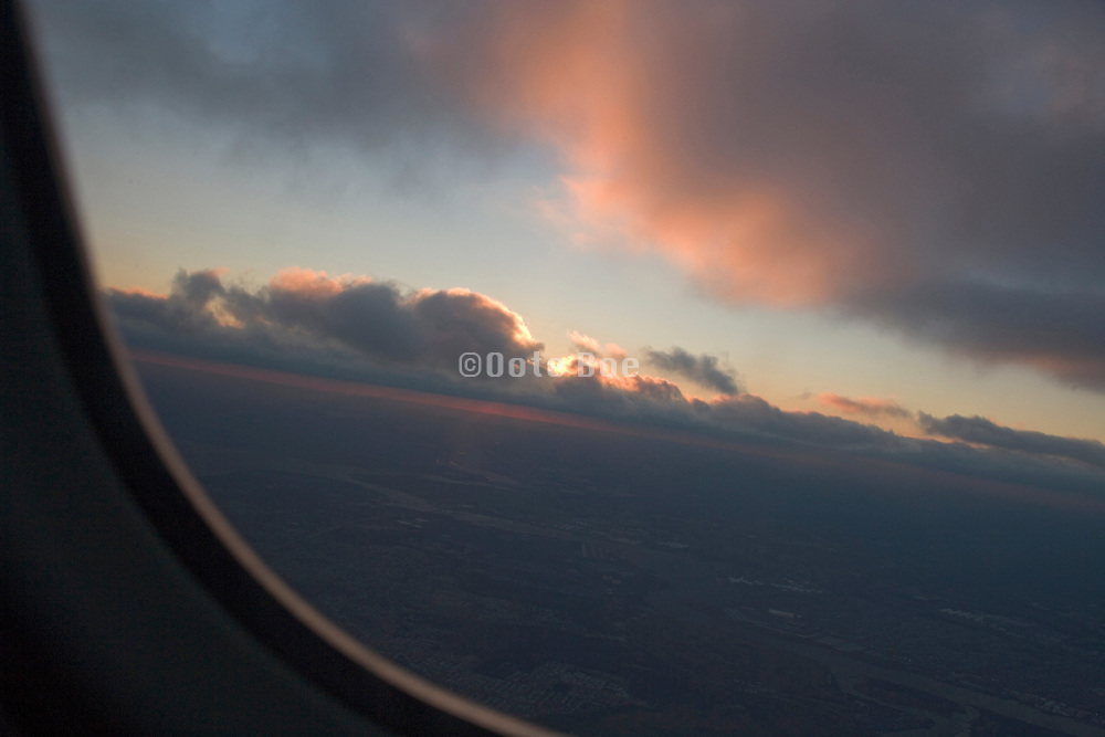 view of airplane during a beautiful sunset sunrise