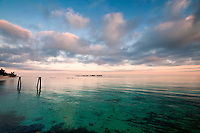 View of the ocean and beach in Nassau, the Bahamas early in the morning.