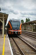 Tartu, Estonia - July 23, 2015: Modern train at the train station in Tartu, Estonia