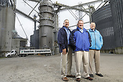 SHOT 10/29/18 9:45:26 AM - Sunrise Cooperative is a leading agricultural and energy cooperative based in Fremont, Ohio with members spanning from the Ohio River to Lake Erie. Sunrise is 100-percent farmer-owned and was formed through the merger of Trupointe Cooperative and Sunrise Cooperative on September 1, 2016. Photographed at the Clyde, Ohio grain elevator was George D. Secor President / CEO and John Lowry<br /> Chairman of the Board of Directors with  CoBank RM Gary Weidenborner. (Photo by Marc Piscotty © 2018)