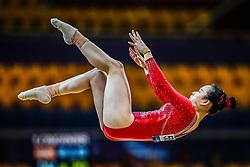 October 28, 2018 - Doha, Quatar - Huan Luo of China   during  Floor qualification at the Aspire Dome in Doha, Qatar, Artistic FIG Gymnastics World Championships on 28 of October 2018. (Credit Image: © Ulrik Pedersen/NurPhoto via ZUMA Press)
