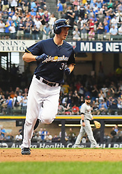 May 8, 2018 - Milwaukee, WI, U.S. - MILWAUKEE, WI - MAY 08: Milwaukee Brewers Pitcher Brent Suter (35) rounds the bases after hitting a solo home run in the bottom of the 3rd during a MLB game between the Milwaukee Brewers and Cleveland Indians on May 8, 2018 at Miller Park in Milwaukee, WI. The Brewers defeated the Indians 3-2.(Photo by Nick Wosika/Icon Sportswire) (Credit Image: © Nick Wosika/Icon SMI via ZUMA Press)