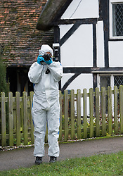 © London News Pictures. 18/12/2013 . Didcot, UK. A Police forensics officer at All Saints Church in Dicot where police have started searching in connection with the disappearance of teenager Jayden Parkinson who has been missing since December 3rd. 22 year-old Ben Blakeley has been charged with the murder of 17-year-old Jayden. Photo credit : Ben Cawthra/LNP