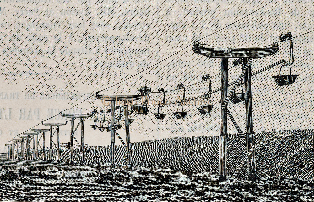 Telpherage: Buckets of clay being carried by Sussex Cement Company's wire rope railway at  Glynde, Sussex, England, 1885.
