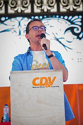 June 10, 2017 - De Panne, BELGIUM - CD&V chairman Wouter Beke delivers a speech at the yearly family day of Flemish Christian democrat party CD&V, on Saturday 10 June 2017 at the Plopsaland amusement park in De Panne. BELGA PHOTO KURT DESPLENTER (Credit Image: © Kurt Desplenter/Belga via ZUMA Press)