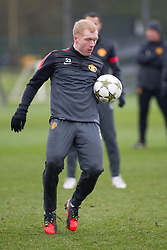 © Licensed to London News Pictures . 06/11/2012 . Manchester , UK . Paul Scholes . Manchester United players train this morning (6th November 2012) at the club's training facility in Carrington , ahead of their Champions League match against SC Braga in Portugal tomorrow (7th November 2012) . Photo credit : Joel Goodman/LNP