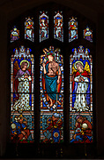 Victorian 19th century stained glass window, Lawshall church, Suffolk, England, UK by Horwood Bros - Resurrection