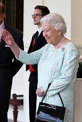 Queen Elizabeth II bids farewell to King Felipe VI of Spain and Queen Letizia at Buckingham Palace, on the final day of the King's State Visit to the UK.