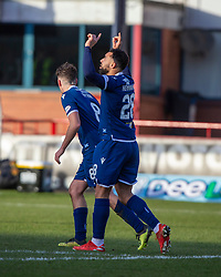 Dundee's Kane Hemmings celebrates after scoring their first goal. Dundee 2 v 0 Partick Thistle, Scottish Championship game played 8/2/2020 at Dundee stadium Dens Park.