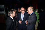 TOM FREUD; MICHAEL SPENCER; PEREGRINE ARMSTRONG-JONES, The Summer Party. Hosted by the Serpentine Gallery and CCC Moscow. Serpentine Gallery Pavilion designed by Frank Gehry. Kensington Gdns. London. 9 September 2008.  *** Local Caption *** -DO NOT ARCHIVE-© Copyright Photograph by Dafydd Jones. 248 Clapham Rd. London SW9 0PZ. Tel 0207 820 0771. www.dafjones.com.
