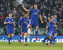 February 23, 2019 - Leicester, England, United Kingdom - Leicester City's Jonny Evans celebrates scoring his sides first goal .during English Premier League between Leicester City and Crystal Palace at King Power stadium , Leicester, England on 23 Feb 2019. (Credit Image: © Action Foto Sport/NurPhoto via ZUMA Press)