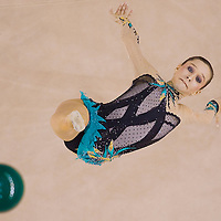 Liubouv Charkashyna (BLR) performs with the ball during the final of the 2nd Garantiqa Rythmic Gymnastics World Cup held in Debrecen, Hungary. Sunday, 07. March 2010. ATTILA VOLGYI