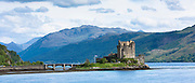 Eilean Donan Castle, a highland fortress, in Loch Alshe at Dornie, Kyle of Lochalse in the western hIghlands of Scotland