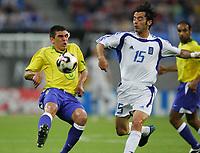 Fotball, 16. juni 2005, <br /> Conferderations Cup Brasil - Hellas<br /> v.l. Lucio, Zisis Vryzas Hellas<br /> <br />  Norway only