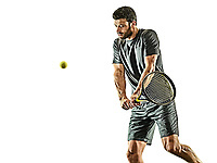 one caucasian mature tennis player man backhand  waist up profile side view in studio isolated on white background