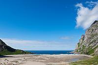 Scenic summer view of Bunes beach, Moskenesoy, Lofoten islands, Norway