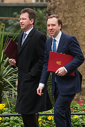 London, February 10th 2015. Ministers arrive at the weekly cabinet meeting at 10 Downing Street. PICTURED: Matthew Hancock, Minister of State for Energy, Minister of State for Business and Enterprise, Minister for Portsmouth arrives with Attorney General Jeremy Wright.