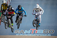 #997 (SCHAUB Philip) GER, #120 (PELLUARD Vincent) COL and #99 (YAMAGUCHI Daichi) JPN  at Round 9 of the 2019 UCI BMX Supercross World Cup in Santiago del Estero, Argentina