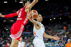 Dario Saric of Croatia vs Worthy de Jong of Netherlands during basketball match between Netherlands and Croatia at Day 5 in Group C of FIBA Europe Eurobasket 2015, on September 9, 2015, in Arena Zagreb, Croatia. Photo by Vid Ponikvar / Sportida