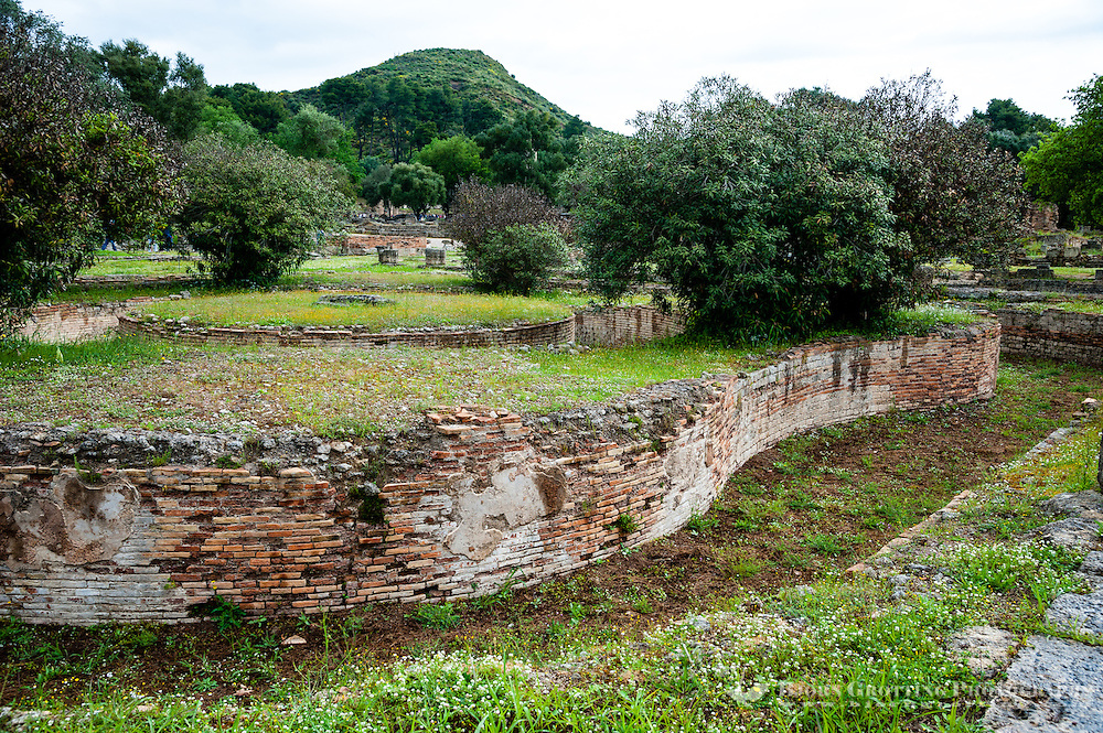 Olympia, Greece. The site of the Olympic Games in classical times. The Leonidaion was a lodging place for athletes.