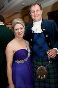 MRS. HUSTON MORRIS; HUSTON MORRIS, The Royal Caledonian Ball 2011. In aid of the Royal Caledonian Ball Trust. Grosvenor House. London. W1. 13 May 2011.<br /> <br />  , -DO NOT ARCHIVE-© Copyright Photograph by Dafydd Jones. 248 Clapham Rd. London SW9 0PZ. Tel 0207 820 0771. www.dafjones.com.